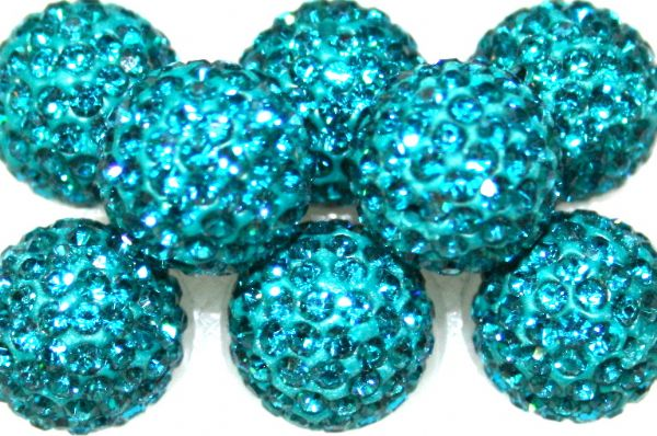 12mm Teal 130 Stone Pave Crystal Beads- 2 Hole PCB12-130-008